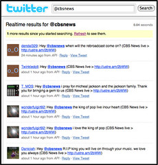 Twitter Search of CBS