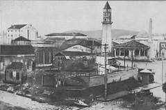 Sheshi Sknderbej, para lirimit. Place Skanderbeg (mosque Haxhi Ethem bey, tour de l'horloge et ancien emplacement de l'actuel Palais de la Culture), Tirana, Albanie, avant 1944. (Only Tradition) Tags: al albania tirana albanien shqiperi shqiperia albanija albanie shqip shqipri ppsh shqipria tiran shqipe arnavutluk hcpa albani   gjuha   rpsh  rpssh         albnija