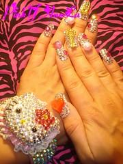 ★My Kira Kira Nails with Hello Kitty Bangle★ (Pinky Anela) Tags: japanese tokyo hellokitty nail kawaii bling deco sparkly nailart pinkyanela