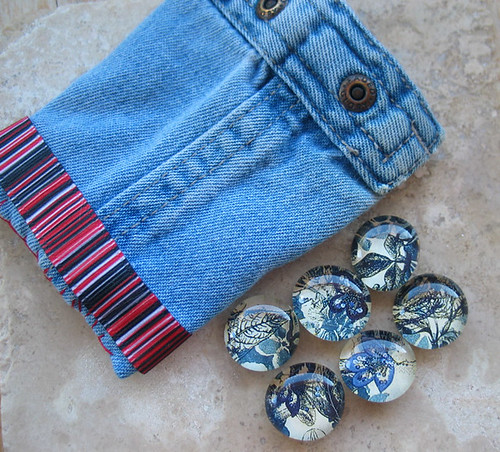6 Denim Inspired Botanical Flower Marble Magnet Set With Hand Sewn Denim Gift Pouch