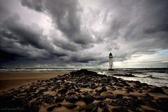 (andrewlee1967) Tags: uk sea england sky lighthouse beach clouds liverpool coast sand rocks waves britain tide stormy gb tidal badweather wallasey newbrighton sigma1020mm andrewlee 50d mywinners andrewlee1967 perchrock canon50d