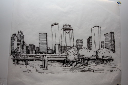 Houston skyline as drawn by Peter Brown