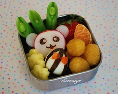 Bijou Toddler Bento (sherimiya ) Tags: cute fruits lunch kid toddler character egg bijou snack hamster bento radish raspberries hamtaro obento 2yearold peapods sherimiya