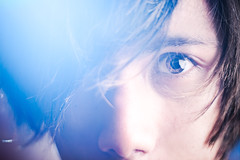 8.25.2009 (Jeremy Snell) Tags: lighting blue portrait color face hair 50mm eyes emotion flare heavy strobes hearted