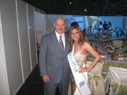 Miss Pakistan (Mariyah Moten) with The President of Belarus (Alexander Lukaschenko)
