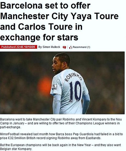 Picture: The Sunday Mirror claim Manchester City are after Carlos Toure