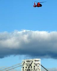 U.S. Coast Guard Helicopter, George Washington Bridge, New York City (jag9889) Tags: city nyc bridge ny newyork tower puente coast us crossing suspension manhattan guard bridges ponte helicopter pont hudsonriver brcke gw 2009 copter gwb waterway georgewashingtonbridge uscg uscoastguard othmarammann 6536 panynj portauthorityofnewyorkandnewjersey k007 y2009 jag9889