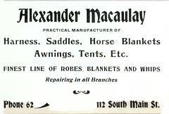 Alexander Macaulay, Butte, Montana (1901) (Butte-Silver Bow Public Library) Tags: bw horse ads montana butte repair advertisements saddle pamphlet silverbow 1901 macaulay butteamerica 19001909 buttefiredepartment alexandermacaulay buttesilverbowpubliclibrary buttepubliclibrary bsblibrary buttedigitalimageproject petersanger wwwbuttepubliclibraryinfo peoplespubco smainbuttemt