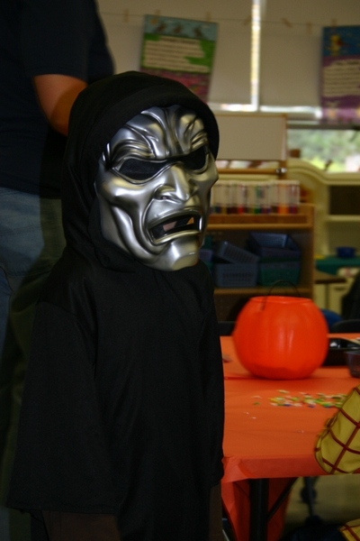 Chase at school parade (he wore a different mask for T or T)