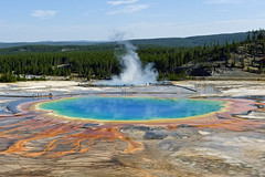 Grand Prismatic Spring (bhophotos) Tags: blue red nature colors yellow landscape geotagged spring nikon day yellowstonenationalpark yellowstone wyoming geyser thermals prismatic midwaygeyserbasin coth d700 2470mmf28g coth5 projectweather bruceoakley pwpartlycloudy