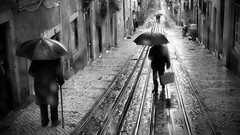Weather subject (Rui Palha) Tags: street leica people bw blackwhite lisbon pb pretobranco rainydays interestingness8 ruipalha