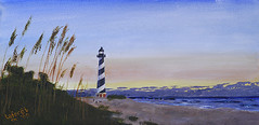 Cape Hatteras beach at dusk (Chris Lafort) Tags: ocean lighthouse seascape beach painting acrylic waves canvas capehatteraslighthouse capehatteras seaoats capehatterasnationalseashore acryliconcanvas buxtonnc chrislaforet claforet