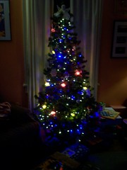 our tree with the new shiny blue lights