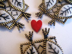 Owly talons!! (woolly  fabulous) Tags: white wool leaf pin heart recycled brooch felt owl zipper newbirds embroisered