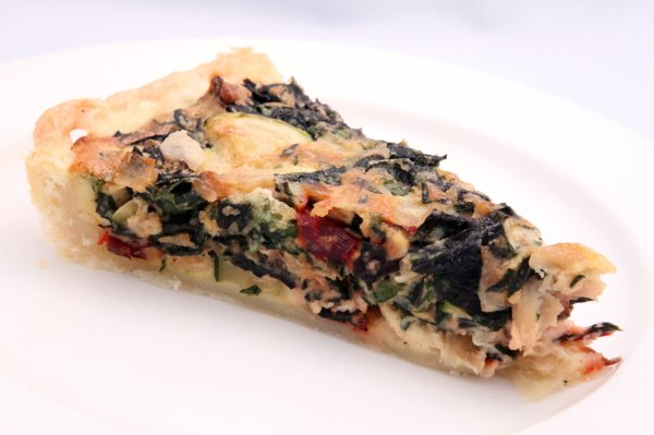 quiche with swiss chard, zucchini, and goat cheese