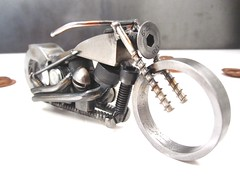 Metal motorcycle art welded sculpture