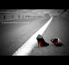 The time you enjoy wasting is not wasted time. (*karla) Tags: road red white black canon 50mm shoes dof time bokeh