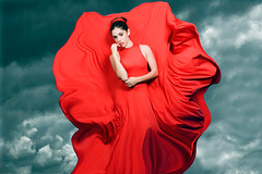 She who causes the storm (Quique Maas) Tags: red storm flying rojo dress cloudy gloria tormenta nublado vestido moviendose