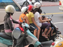 Family of Five On a Scooter