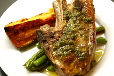 grilled lamb chop with salmoriglio sauce