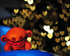 Return of the Bokeh Monster!  EXPLORED FP (flickrfanmk2007) Tags: blue orange monster toys 50mm lights nikon dof heart bokeh shaped explore return f18 fp frontpage d300 explored flickrfanmk2007 profmikeking