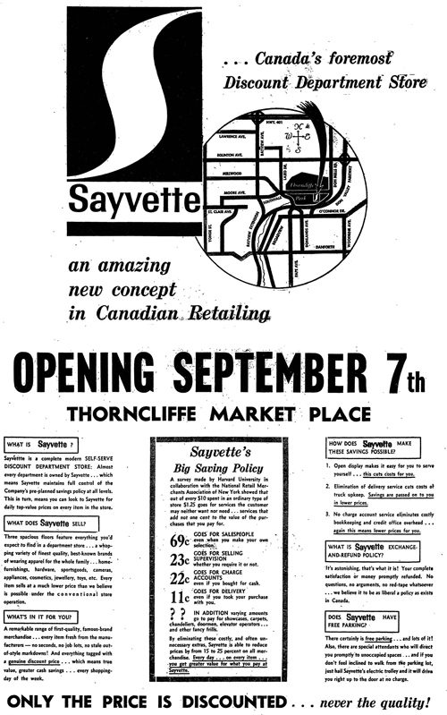 Vintage Ad #871: Sayvette Opening September 7th
