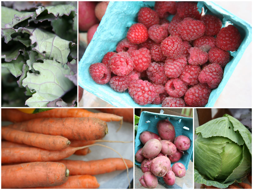 Kale, Raspberries, Carrots, Potatoes & Cabbage