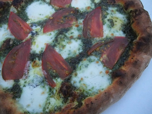 Pesto, Tomato and Cheese Pizza