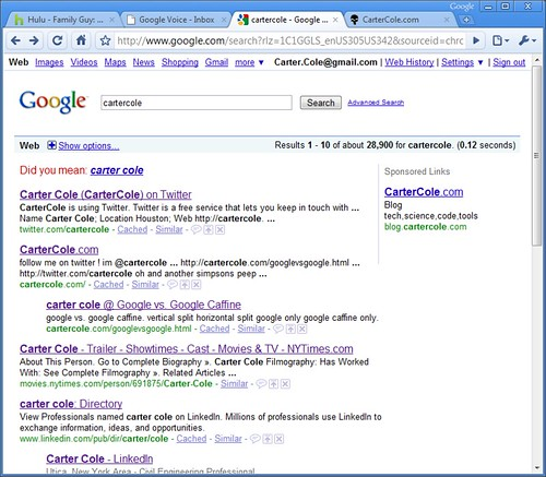 Carter Cole on the Google serp