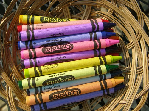 newly opened box of crayons