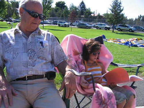 Grandpa & Lil' Mermaid enjoying the sunshine..