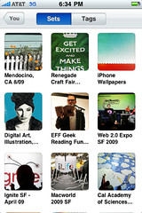 Flickr iPhone app screenshot (some of my sets)