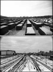 (flevia) Tags: winter bw snow cold berlin analog blackwhite bn jews nophotoshop urbanjungle genocide holocaustmemorial ilford biancoenero dyptich nikonfa berlino ilforddelta3200 foma damncold hcsp analogico fomapan nikkor35mmf2 fomapan200 scannednegatives epsonv700 dittico sigma24mmf28 autaut epsonperfectionv700photo flevia fomapancreative200 imanalog thedyptichproject berlindyptich