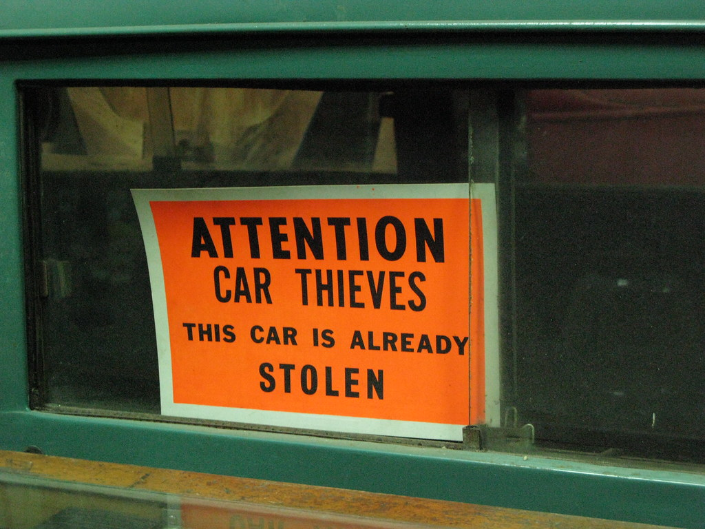 ATTENTION CAR THIEVES by Andrew Huff, on Flickr