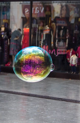 Bubblicious (TheLizardQueen) Tags: street city reflection southwales wales cymru cardiff refraction glamorgan bubble queenstreet