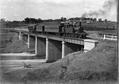 20 class tank engine and suburban passenger train, Camden, ca. 1930 / photographer unknown (State Library of New South Wales collection) Tags: bridge steamtrain tankengine passengertrain clerestory 30class newsouthwalesgovernmentrailwaysandtramways endcarriage beyerpeacockcompany boxcarriage clerestorycoachaustralianstock
