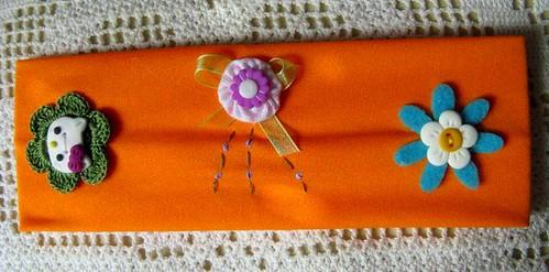 Faixa de cabelo laranja Hello Kitty - Ref.25/09