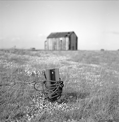 - (luns_spluctrum) Tags: uk england beach kent empty shed f bleak pan 50 rodinal ilford gravel nothingness dungerness panf 11min 123bw