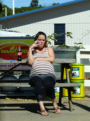 That's good for the baby (Boobook48) Tags: portrait girl cola habit cigarette candid australia coke pregnant smoking gas health petrol poison chemicals petrolstation