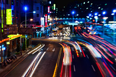 Day 260 - Bright Lights (saebaryo) Tags: longexposure streets lensbaby lights nikon traffic taiwan keelung project365 365project colorphotoaward d700 nikond700 lensbabycomposer