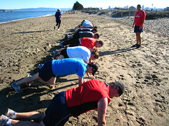 Push-ups on the beach (KOI FITNESS) Tags: sanfrancisco bootcamp bakerbeach koifitness