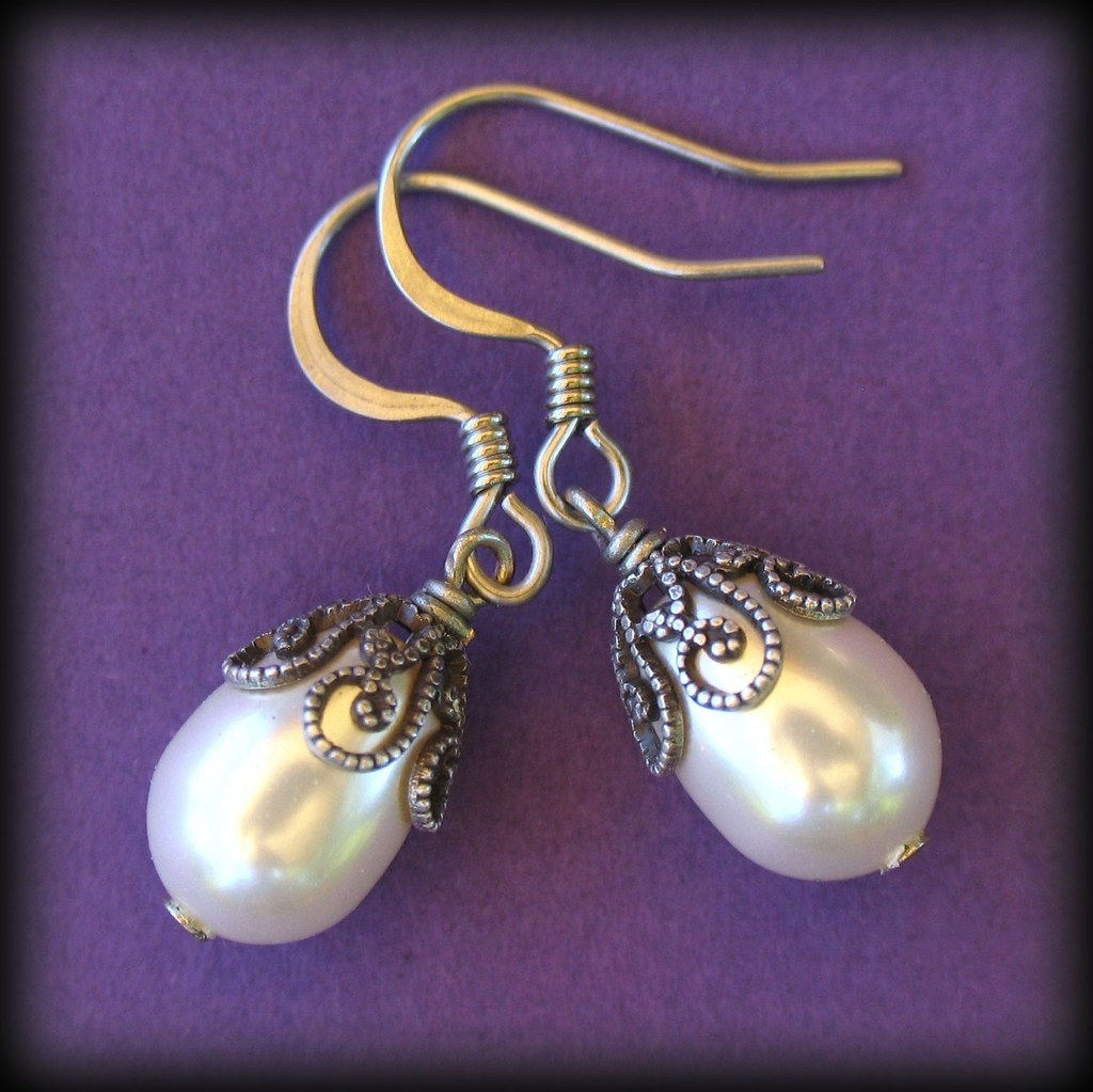 Swarovski Pearl Teardrops with Antiqued Silver Filigree Caps Earrings