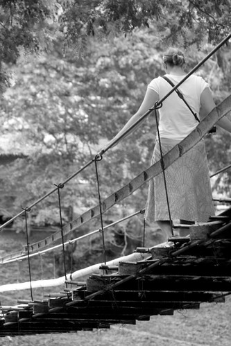 Caz on rope bridge, Bohol