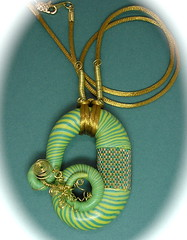 Polymer Clay Mixed Media Necklace (auntgriz) Tags: handmade polymerclayjewelry satincord mixedmedianecklace knightworkstudio beadedbandpendant