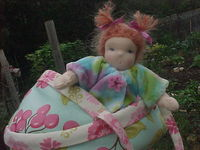 "6 or 8"" Baby in a Moses Basket or Boat with Hand Knit Longies - Custom Doll"