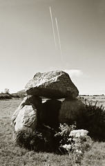 Something old, something new (David (UK) - Gone) Tags: ireland contrail tomb prehistoric dolmen countysligo carrowmore