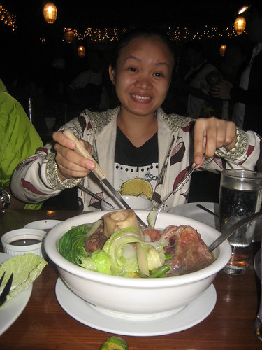 Elma digging into the bulalo.
