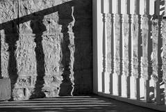 Porch Posts (peterkelly) Tags: shadow bw ontario canada building stone digital evening downtown post guelph canadian porch northamerica railing