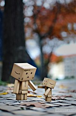 you look familiar... (marqos) Tags: park street autumn trees fall leaves nikon friend double tenderness danbo nikkor35mmf18 coubles
