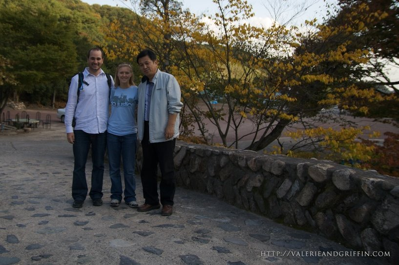 Valerie and Griffin With Mr. Shin at Ki Rim Sa Temple near Gyongju, South Korea